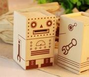 Wooden Robot Coin Bank