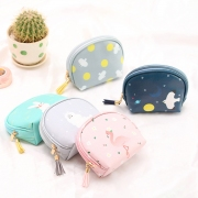 Cheerful Animals Leather Round Pouch