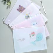 Mermaid Cat Zipper File Folder A4