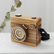 Retro Camera Style Wooden Music Box