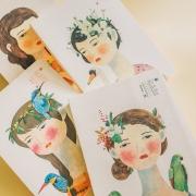 Girl and Bird Mixed Notebook