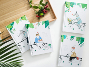 Cycling Together Hardcover Plain Notebook A6