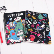 Cute Star Skateboard Alien Spiral Ruled Notebook B5