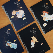 Good Night Girl Spiral Ruled Notebook B5