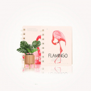Beautiful Pink Flamingo Spiral Ruled Notebook A7