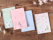 Cherry Blossom Rain Spiral Ruled Notebook