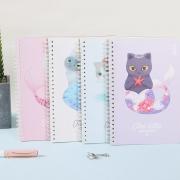 Mermaid Cat Spiral Ruled Notebook