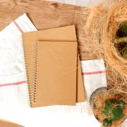 Kraft Cover Spiral Grid Notebook