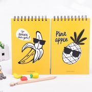 Cool Yellow Fruit Spiral Plain Notepad