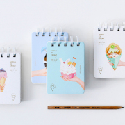 Animal Ice Cream Spiral Ruled Notepad A7