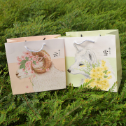 Floral Wolf and Sheep Fancy Paper Bag