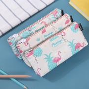 Hello Summer Flamingo Canvas Pencil Case Flat
