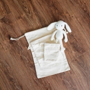 Plain White Canvas Drawstring Pouch