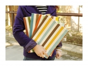 Oxford Cloth Striped Pouch L