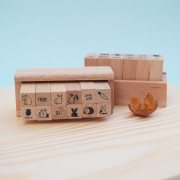 Cute Mini Wood Stamp Set 12pc