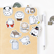 Cool White Cat Deco Sticker Pack