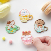 Teacup Animal Embroidery Patch Sticker