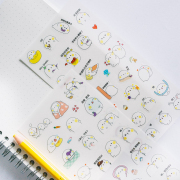 White Puffy Friend Diary Deco Stickers