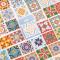 Retro Flower Tiles Flake Stickers Set
