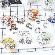 Milk Carton Cute Animal Flake Stickers Set