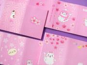 White Cat Sakura Sticky Notes Set