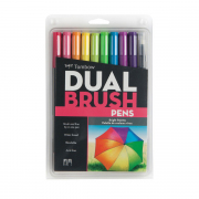 Tombow ABT Dual Brush Pen 10pc Set Bright Palette