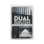 Tombow ABT Dual Brush Pen 10pc Set Grayscale Palette