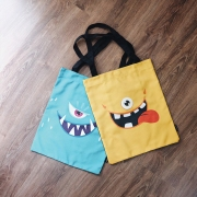 Cute Star Scary Monster Canvas Tote Bag