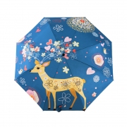Flowery Deer Design Folding Umbrella