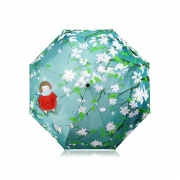 White Blossom Design Folding Umbrella