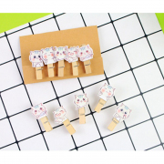Wooden Clip White Kitty
