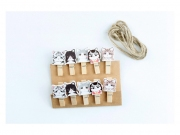 Cat Siblings Wooden Clip