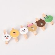 Wooden Clip Box Set Line Mascot