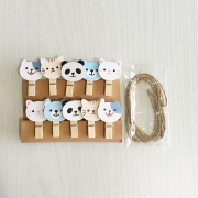 Wooden Clip Mascot Cat Panda Bear