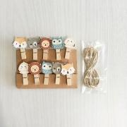 Wooden Clip Mascot Zoo
